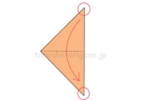 2.角と角が重なるように半分に折る