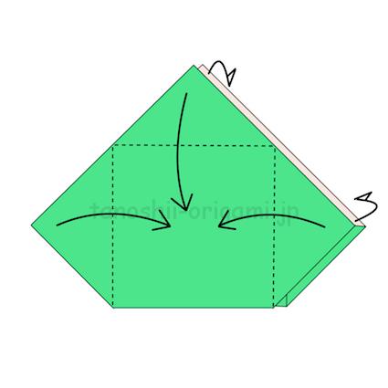 20.三角の部分を外側に折る