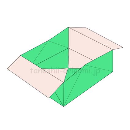 23.広げたら折り紙の箱の出来上がり