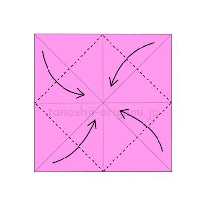 3.折り紙の4つの角を真ん中に合わせて折る (2)