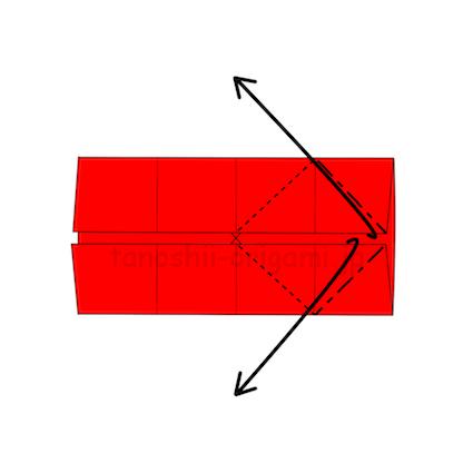 3.折り線に合わせて広げる