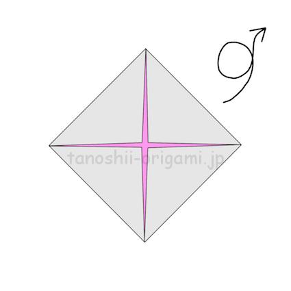 4.折り紙を裏返す。 (2)