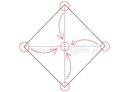 4.角を真ん中に合わせて折る