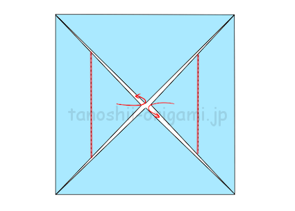 5.向かい合っている2カ所を半分内側へ折る