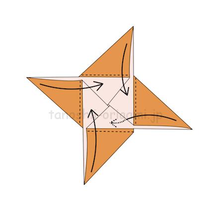5.点線のところで折り、三角形の角が隠れるように差し込む。
