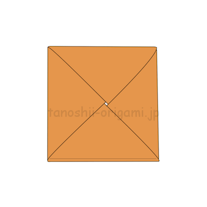 6.折り紙のしかくたたみがみの完成