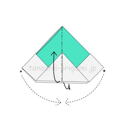 7.★を重ねるように開きながら三角の下の部分をめくるように上に折る-2