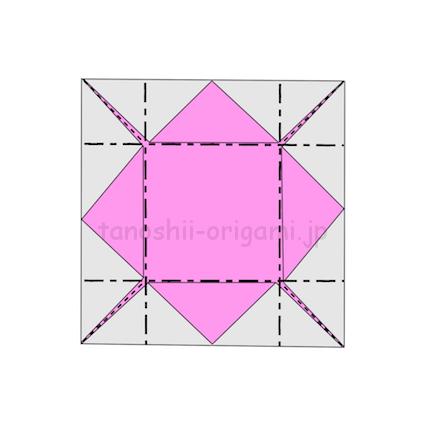 7.折り線に合わせて立ち上がるように折る (2)
