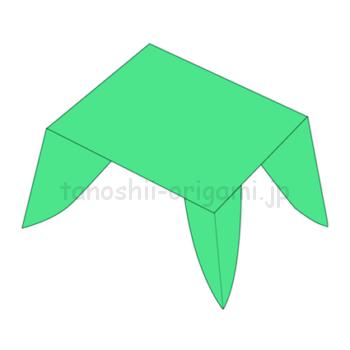 9.折り紙の机の出来上がり