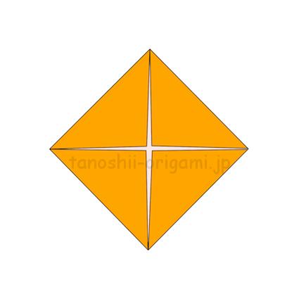 1.折り紙の4つの角を真ん中にあわせて折る。