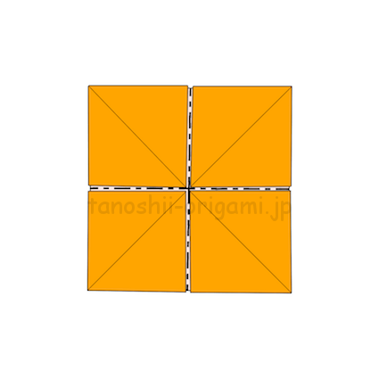 4.縦と横に折り線をつける。