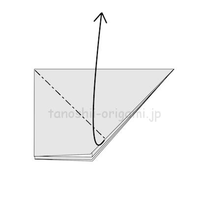5.上の1枚を開いてつぶすように折る。