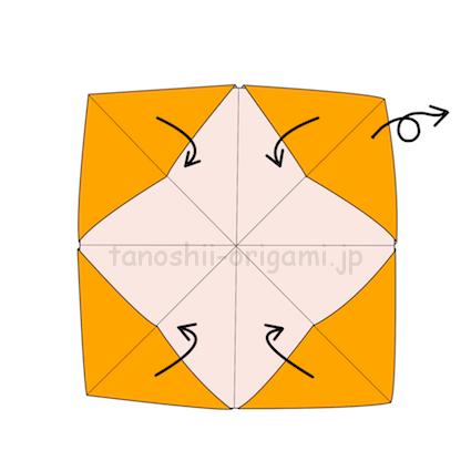 5.斜めの折り線に合わせて指を入れるところの袋を作る。