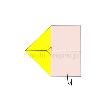 5.真ん中の線を谷折りする