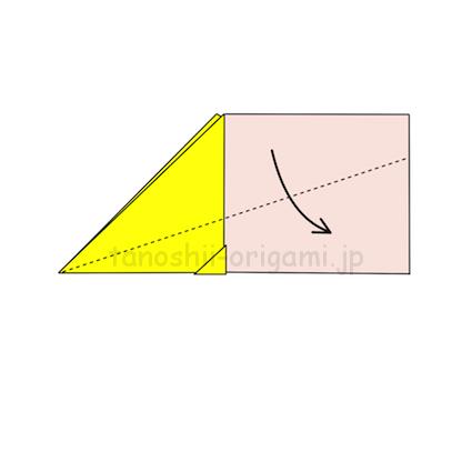 6.飛行機の先端から斜めに折って翼を作る