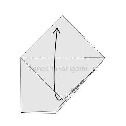 6.2枚目を上に折り、開いた2枚を重ねる。