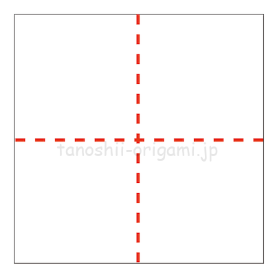 1.縦横に折り線をつけておく。