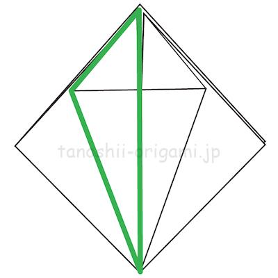 10-1左半分(緑色の部分)を反対側に折る。