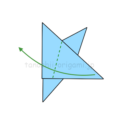 12.上の2つの角の間と下の角を結ぶ点線の部分で折る。