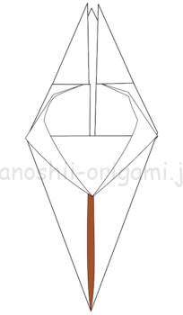 13.折り線に沿って開いて潰すように折る。