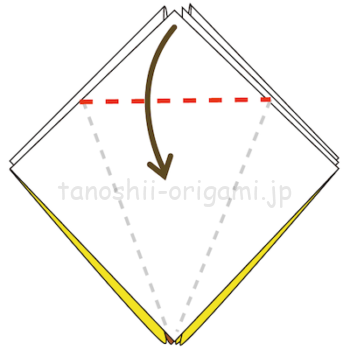 18.上の部分を三角に折る。