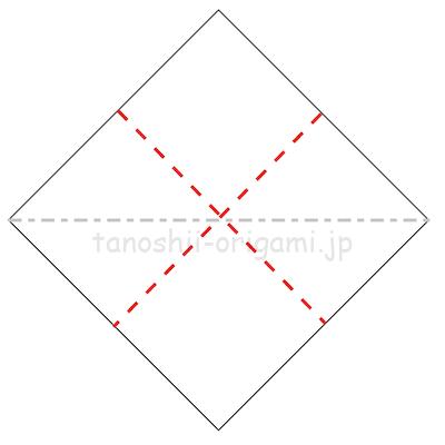 2.長方形になるように半分に折り、折り線をつける。