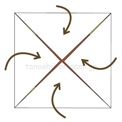 4.真ん中に角を合わせて折る。