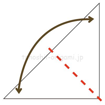 6さらに半分に折って、折り線をつける。反対側も同じように折り線をつける。