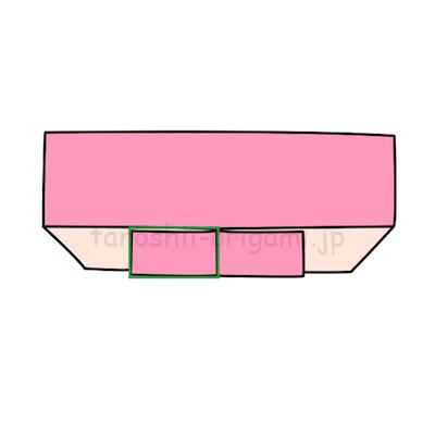 6.裏返します。四角で囲った部分を開いてつぶすように折る。