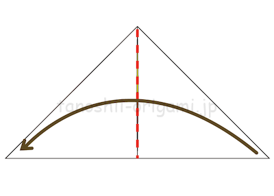 7-1折り線に合わせて開いて潰すように折る。