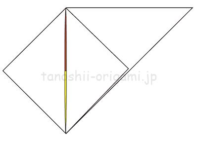 7-3折り線に合わせて開いて潰すように折る。
