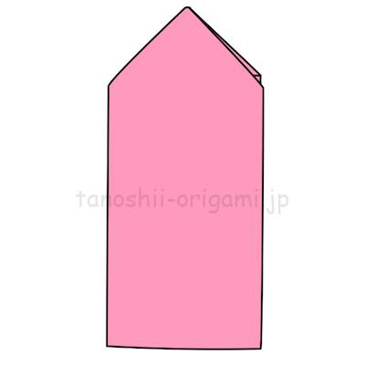 8.反対側の角も同じように折る。