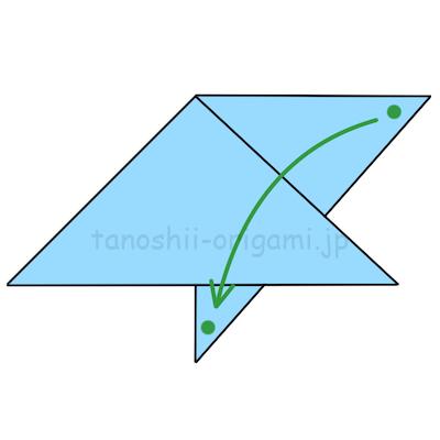 8.点が重なるように折る。