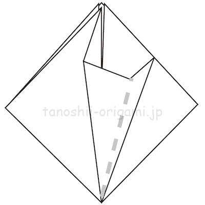 9-1折り線に合わせて開いて潰すように折る