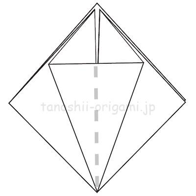 9-2折り線に合わせて開いて潰すように折る