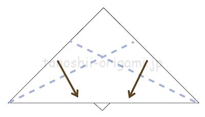 11.折り線を頼りに立ち上げるように折る。