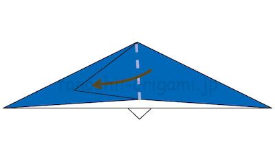 12-2.立ち上がった部分を倒して折り線をつける。