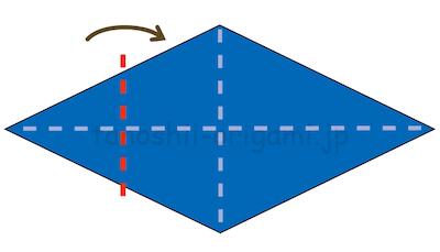 15.左側の角を中央の線に合わせて山折する。