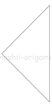 2-2.折り紙の白い面が表にくるように三角に折る。