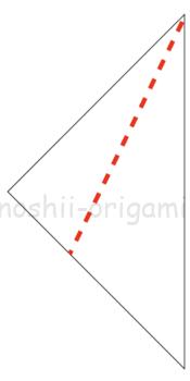 3-2.3.三角に折った角を谷折りして折り線をつける。この時、中心の線から1cmほど離して折る。