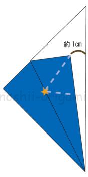 4.反対の向きも同じように折り線をつける。↓のように折り線が重なります。